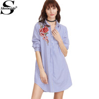 Sheinside Striped Shirt Summer Dress Women Blue And White Vinatge Rose Embroidery Mini Casual Dresses 2017 Brief Button Up Dress
