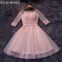 CEEWHY Three Quarter Sleeve Tulle Embroidery A-Line Formal Gowns Short Party Dresses Robe de Cocktail Party Homecoming Dresses