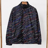 Balenciaga Fashion Women Men Casual Print Hooded Zipper Jacket Coat Sun-Protective Windbreaker