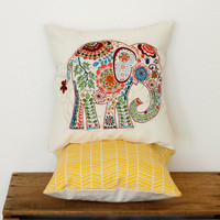 "Daffodil Yellow Geometric Elephant Pillow- 12""x12"" Throw Pillow Cover with pink paisley elephant appliqué and yellow geometric print backing"