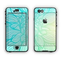 The Faded Blue & Green Subtle Floral Apple iPhone 6 Plus LifeProof Nuud Case Skin Set