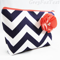 Navy blue chevron with coral accent cosmetic case, makeup bag, clutch monogramming available