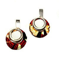 African Jewelry Silver Earrings with African Fabric in Red