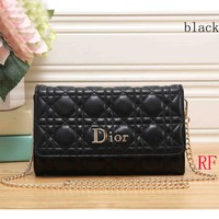 DIOR 2018 latest female trendy leather handbag clutch F-RF-PJ black