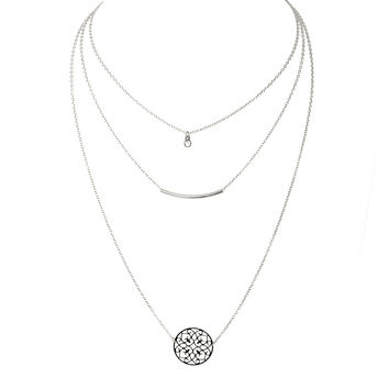 New Beginnings Layered Silver Necklace Set
