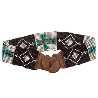 Cross Link Beaded Belt - One Size / Brown