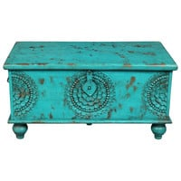 Wanderloot Leela Teal Blue Hand-carved Medallion Coffee Table Trunk (India) | Overstock.com Shopping - The Best Deals on Coffee, Sofa & End Tables