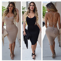 Spaghetti Strap Crisscross Back Bodycon Midi Dress