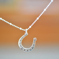 Sterling Silver Horseshoe Necklace, Good Luck Horse Shoe Necklace, Sterling Silver Horse Shoe ,  Lucky Necklace , Minimal Everyday Necklace