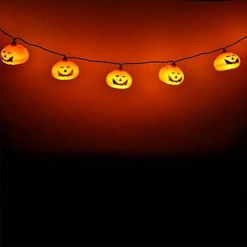 BLOWOUT 10 LED Jack-o-Lantern Pumpkin Halloween String Light, 5.5 FT Battery Operated Powered