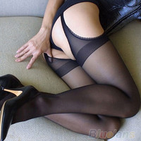Women's Stockings Black Open Crotch Lace Edge Pantyhose Lingerie Tights CN0022 (Size: L) = 1930406084