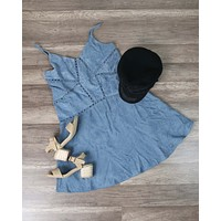Final Sale - Cami Corduroy Dress in Dusty Blue