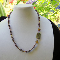 Asymmetrical earthy natural stone necklace Agate jasper jewelry Long brown gemstone necklace Statement focal OOAK handmade unique jewelry