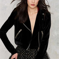 Zipper Slim Long-Sleeved Short Jacket