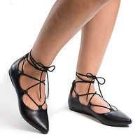 Heat Pointy Toe Corset Lace Up Ankle Wrap Trendy Ballet Flats
