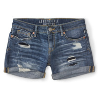 Aeropostale  Destroyed Medium Wash Denim Midi Shorts