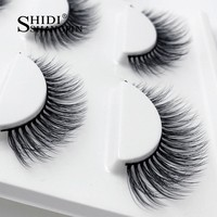 Winged Natural Long Mink False Eyelashes Makeup Natural Stage Party Like Wispies Cross 3D Mink Lashes Extension Make Up 3 Pairs