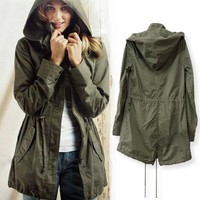 Green Womens Lady Hoodie Drawstring Military Trench Jacket Coat Parka Outwear