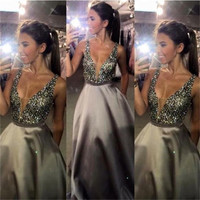 A Line Grey Long Prom Dress, Dress for Prom