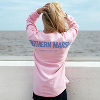 Rebecca Long Sleeve Jersey in Camelia with Blue Gingham by Southern Marsh