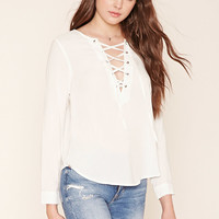 Lace-Up Woven Top