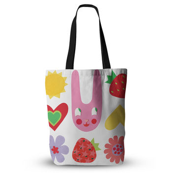 """Jane Smith """"Summer Repeat"""" White Red Everything Tote Bag"""