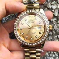 Rolex Trending Popular Women Men Diamond Movement Watch Business Wristwatch Golden