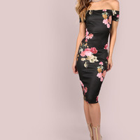 Black Off Shoulder Floral Print Bodycon Midi Dress