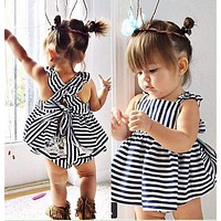 Baby Girl Sale Special Offer O-neck Cotton 2017 New Summer Style Female Striped Vest Foreign Navy Dress + Pants Two Piece