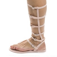 Joanie126 Gold Pvc By Wild Diva, Jelly Knee High Gladiator Multi Buckle Thong Flat Sandals