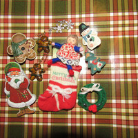 Lot Vintage Christmas Brooches Miscellaneous Winter Pins Snowman Gingerbread Angel Wreath Santa Claus