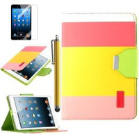 iPad Mini Case, ULAK Colorful Stand Case for iPad Mini with Credit Card Slots and Wrist Strap (Red/ Yellow/ Pink)