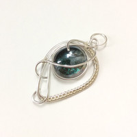Wire wrapped glass pendant, emerald green necklace