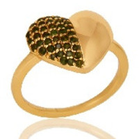Green Tourmaline Heart Shape 18K Gold Plated Sterling Silver Love Ring