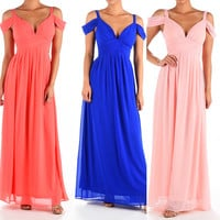 Go with the flow off shoulder Maxi Bridesmaid Dress Pink, Coral and Royal Blue