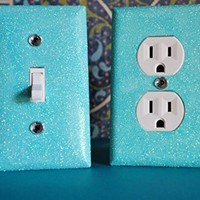 ICE MINT Glitter Switch Plate & Glitter Outlet Covers. Set of 2. ALL Styles Available!