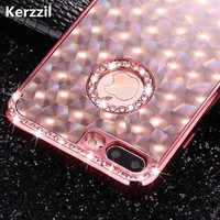 Kerzzil 3D Laser Diamond Plating Case For iPhone 7 6 6S Plus Slim Rhinestone Soft Cover Cases For iPhone X 10 6 6S Plus Capa