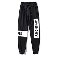 Givenchy Fashion Women Men Letter Embroidery Drawstring Sport Stretch Pants Trousers Sweatpants Black