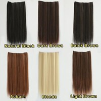 "23"" Long Straight Clip in Hair Extensions Hairpieces = 5658504449"