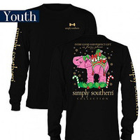 YOUTH Simply Southern Christmas Elephant L/S - Black