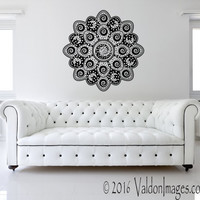 Moon and star mandala flower wall decal, boho wall decor, bohemian wall decor, living room decor, bedroom wall decal, boho wall decal