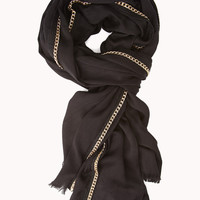 Edgy Chain-Trimmed Scarf