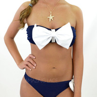 West Hampton Navy White Bow Sailor Bikini