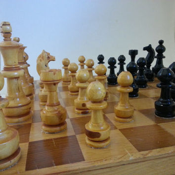 vintage chess set . vintage wooden chess set . hand carved games pieces . vintage chess game . large chess game