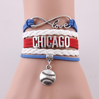 Infinity Love Chicago Cubs Bracelet- Chicago Bracelet MLB Sport Baseball- 2 Variations Available