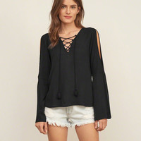 Split Sleeve Lace Up Peasant Blouse