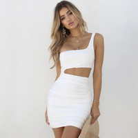 Sexy Sloping One Shoulder Dress Hollow Hip Wrap Dresses Mini Skirt Women Fashion Clothes Drop Shipping