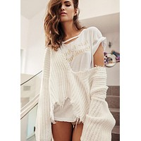 Fashion Personality Tassel Deep V-Neck Loose Long Sleeve Solid Color Sweater Women Short Knitwear Tops