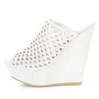 Silver Perforated Peep Toe Platform Wedges Glitter
