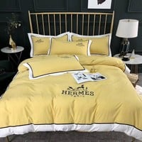 HERMES Luxury Designer Bedding Blanket Quilt Coverlet 2 Pillows Shams 4 PC Bedding Set